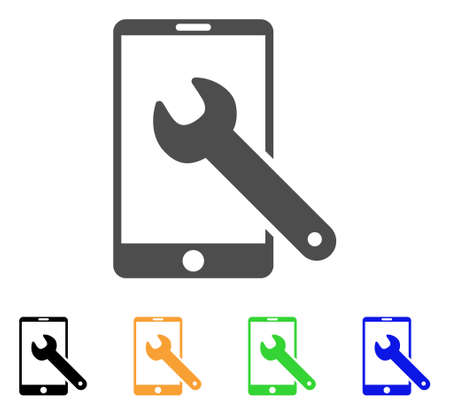 install: Smartphone Setup Wrench icon. Vector illustration style is a flat iconic smartphone setup wrench symbol with black, grey, green, blue, yellow color versions. Designed for web and software interfaces.