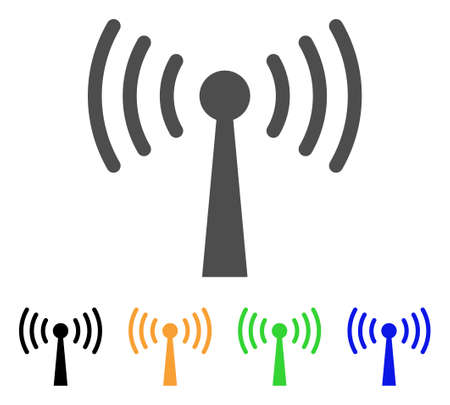 Wi-Fi Station icon. Vector illustration style is a flat iconic wi-fi station symbol with black, gray, green, blue, yellow color variants. Designed for web and software interfaces. Illustration