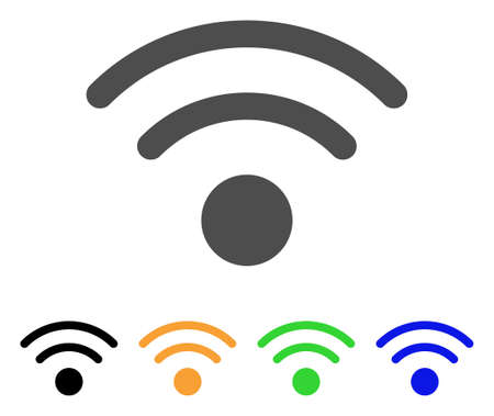Wi-Fi icon. Vector illustration style is a flat iconic wi-fi symbol with black, grey, green, blue, yellow color versions. Designed for web and software interfaces. Illustration