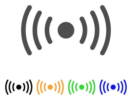 Wi-Fi Point icon. Vector illustration style is a flat iconic wi-fi point symbol with black, gray, green, blue, yellow color variants. Designed for web and software interfaces.