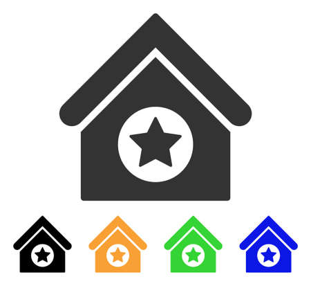 Military Building icon. Vector illustration style is a flat iconic military building symbol with black, gray, green, blue, yellow color variants. Designed for web and software interfaces. Ilustrace