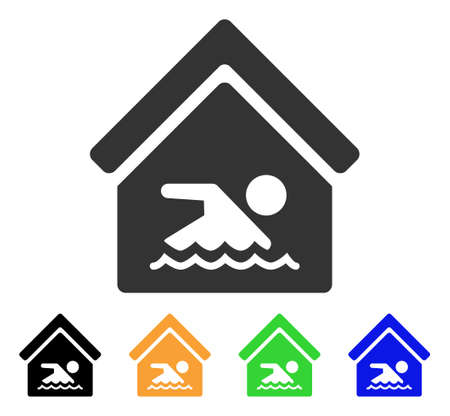 Indoor Water Pool icon. Vector illustration style is a flat iconic indoor water pool symbol with black, gray, green, blue, yellow color variants. Designed for web and software interfaces.