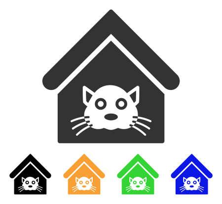 猫の家のアイコンです。ベクトル図のスタイルは、黒、グレー、緑、青、黄色の色のバージョンでフラットに象徴的な猫家シンボルです。 写真素材 - 85571812