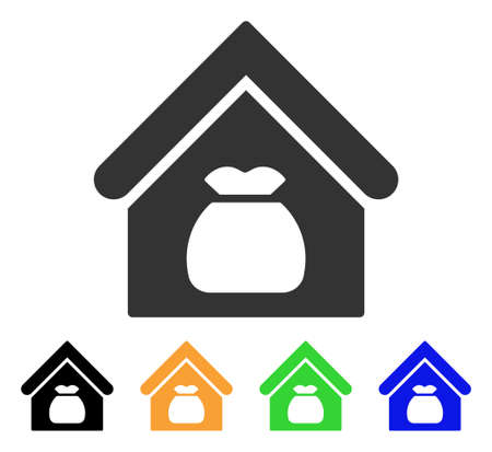 収穫倉庫のアイコン。ベクトルイラストスタイルは、黒、グレー、緑、青、黄色の色のバリアントとフラット象徴的な収穫倉庫のシンボルです。Web