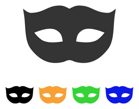 Privacy Mask icon. Vector illustration style is a flat iconic privacy mask symbol with black, grey, green, blue, yellow color versions. Designed for web and software interfaces.
