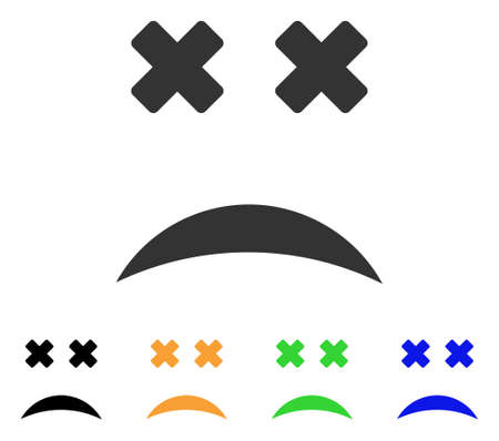 Dead Smile icon. Vector illustration style is a flat iconic dead smile symbol with black, gray, green, blue, yellow color variants. Designed for web and software interfaces. Illustration