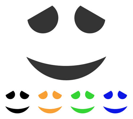 Embarassed Smile icon. Vector illustration style is a flat iconic embarassed smile symbol with black, grey, green, blue, yellow color variants. Designed for web and software interfaces.