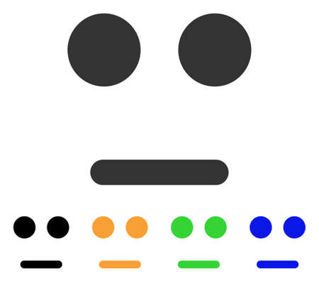Indifferent Smile icon. Vector illustration style is a flat iconic indifferent smile symbol with black, gray, green, blue, yellow color variants. Designed for web and software interfaces.