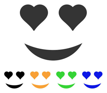Love Smile icon. Vector illustration style is a flat iconic love smile symbol with black, grey, green, blue, yellow color variants. Designed for web and software interfaces.