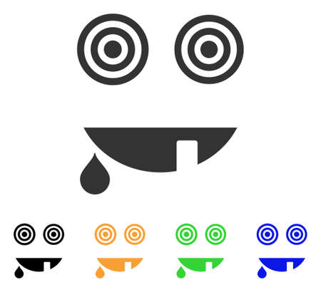 Maniac Smile icon. Vector illustration style is a flat iconic maniac smile symbol with black, grey, green, blue, yellow color variants. Designed for web and software interfaces.