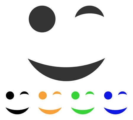 ウインク笑顔アイコン。ベクトル図のスタイルは、黒、グレー、緑、青、黄色の色のバージョンでフラットに象徴的なウインク笑顔シンボルです。We