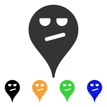 Bored Smiley Map Marker icon. Vector illustration style is a flat iconic bored smiley map marker symbol with black, gray, green, blue, yellow color variants. Designed for web and software interfaces.