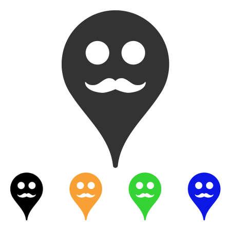 Icône de gentilhomme Smiley Map Marker. Style d'illustration vectorielle est un symbole de marqueur de carte smiley iconique gentleman plat avec des versions de couleur noir, gris, vert, bleu, jaune. Banque d'images - 85648140