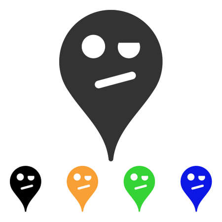 Indifference emoticon map marker symbol with black, grey, green, blue, yellow color variants, Designed for web and software interfaces.