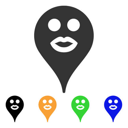 Lips emoticon map marker symbol with black, grey, green, blue, yellow color variants, Designed for web and software interfaces. Illustration
