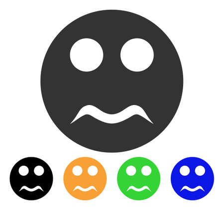 Serious Smiley icon. Vector illustration style is a flat iconic serious smiley symbol with black, gray, green, blue, yellow color variants. Designed for web and software interfaces. Ilustrace