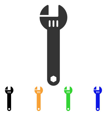 Spanner icon. Vector illustration style is a flat iconic spanner symbol with black, grey, green, blue, yellow color versions. Designed for web and software interfaces. Illustration