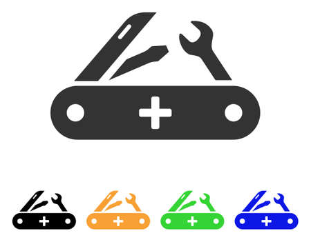 Swiss Knife icon. Vector illustration style is a flat iconic swiss knife symbol with black, grey, green, blue, yellow color variants. Designed for web and software interfaces.
