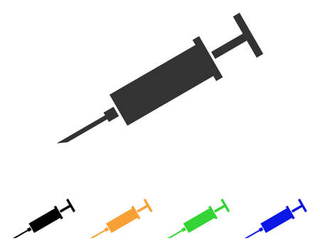 pharmacy symbol: Syringe icon. Vector illustration style is a flat iconic syringe symbol with black, gray, green, blue, yellow color variants. Designed for web and software interfaces. Illustration