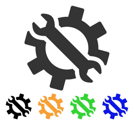 Wrench And Gear Tools icon. Vector illustration style is a flat iconic wrench and gear tools symbol with black, grey, green, blue, yellow color versions. Designed for web and software interfaces.