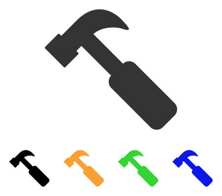Hammer icon. Vector illustration style is a flat iconic hammer symbol with black, gray, green, blue, yellow color variants. Designed for web and software interfaces.
