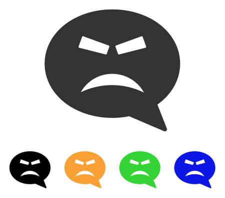 猛烈なスマイル メッセージ アイコンします。ベクトル図のスタイルは、黒、グレー、緑、青、黄色の色のバージョンでフラット象徴的な猛烈なスマ