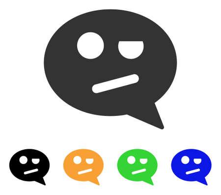 スマイル メッセージ アイコンを否定します。ベクトル図のスタイルは、黒、グレー、緑、青、黄色のカラー バリエーションとフラット象徴的な否  イラスト・ベクター素材