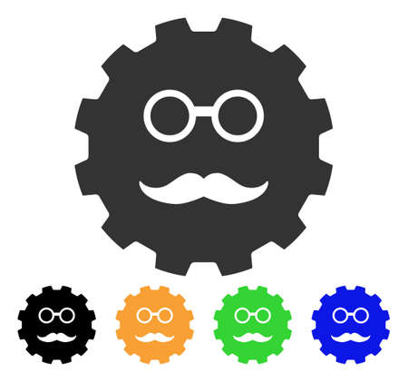 gears: Grandfather Smiley Gear icon. Illustration
