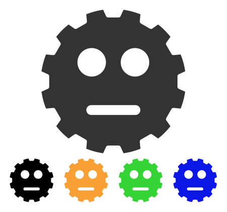 gears: Neutral Smiley Gear icon. Illustration