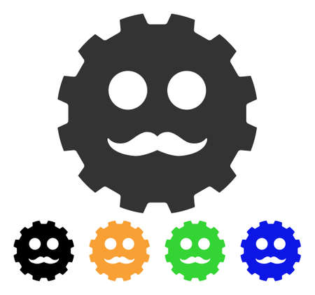 gears: Gentleman Smiley Gear icon. Vector illustration style is a flat iconic gentleman smiley gear symbol with black, gray, green, blue, yellow color variants. Designed for web and software interfaces.
