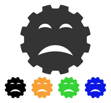 Sadly Smiley Gear icon. Vector illustration style is a flat iconic sadly smiley gear symbol with black, gray, green, blue, yellow color versions. Designed for web and software interfaces.