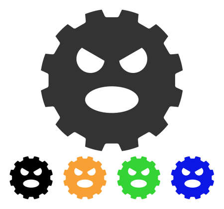 gears: Scream Smiley Gear icon. Vector illustration style is a flat iconic scream smiley gear symbol with black, gray, green, blue, yellow color versions. Designed for web and software interfaces. Illustration