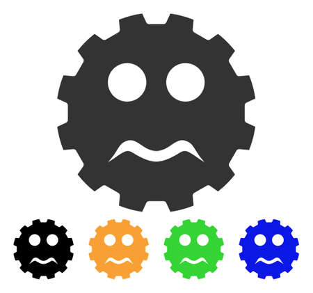 Serious Smiley Gear icon. Vector illustration style is a flat iconic serious smiley gear symbol with black, grey, green, blue, yellow color variants. Designed for web and software interfaces.