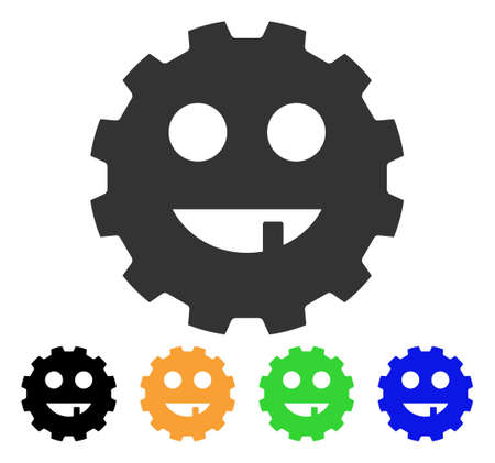 gears: Toothless Smiley Gear icon. Vector illustration style is a flat iconic toothless smiley gear symbol with black, grey, green, blue, yellow color variants. Designed for web and software interfaces. Illustration