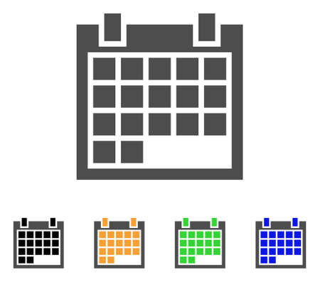 Calendar icon. Vector illustration style is a flat iconic calendar symbol with black, gray, green, blue, yellow color variants. Designed for web and software interfaces.