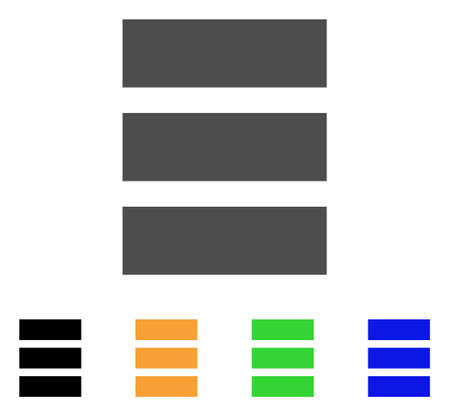 Database icon. Vector illustration style is a flat iconic database symbol with black, gray, green, blue, yellow color versions. Designed for web and software interfaces.