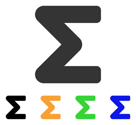 mathematics: Sum icon. Vector illustration style is a flat iconic sum symbol with black, grey, green, blue, yellow color variants. Designed for web and software interfaces. Illustration