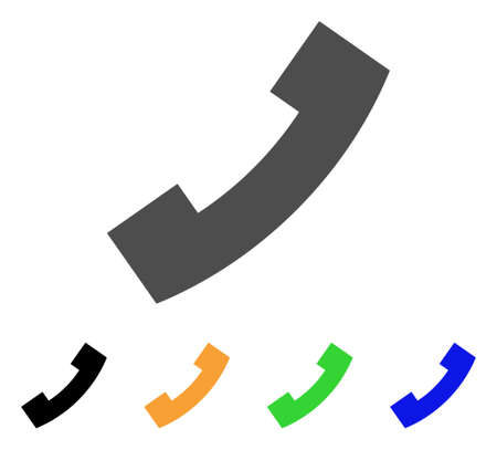 Phone Receiver icon. Vector illustration style is a flat iconic phone receiver symbol with black, grey, green, blue, yellow color variants. Designed for web and software interfaces.