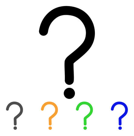 Question Sign icon. Vector illustration style is a flat line iconic question sign symbol with black, grey, green, blue, yellow color variants. Designed for web and software interfaces.