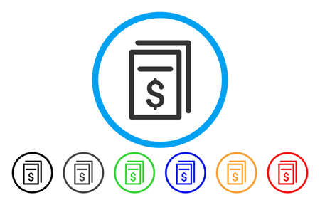 treaty: Invoices icon. Vector illustration style is a flat iconic invoices grey rounded symbol inside light blue circle with black, gray, green, blue, red, orange color versions. Illustration