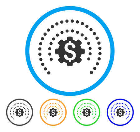 gears: Financial Industry Protection Dotted Sphere icon.
