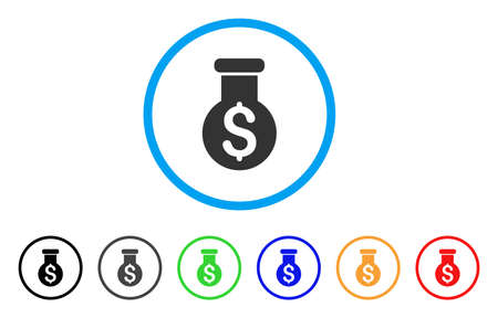 Dollar alchemy icon in flat rounded gray symbol inside a light blue circle with black, gray, green, blue, red, orange color variants.
