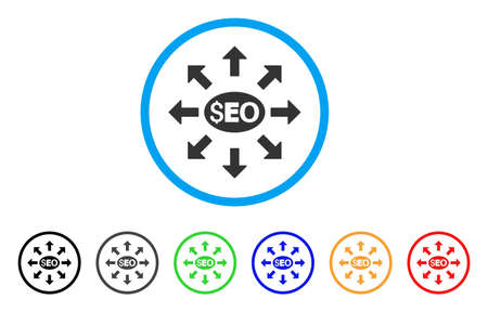 SEO distribution in gray rounded symbol inside light blue circle with black, gray, green, blue, red, orange color variants.