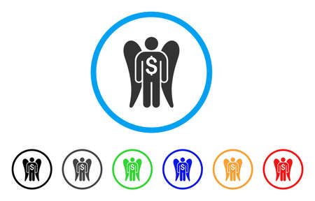investor: Angel Investor icon. Vector illustration style is a flat iconic angel investor gray rounded symbol inside light blue circle with black, gray, green, blue, red, orange color variants. Illustration