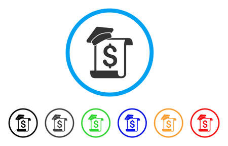 Education Invoice icon. Vector illustration style is a flat iconic education invoice gray rounded symbol inside light blue circle with black, gray, green, blue, red, orange color variants. Illustration