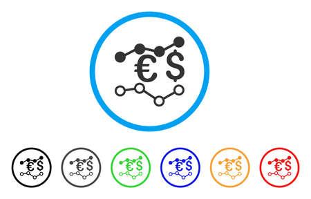 通貨チャート アイコン。ベクトル イラストのスタイルは、黒、グレー、緑、青、赤、オレンジ色の追加バージョンと光の青い円の中フラット象徴的  イラスト・ベクター素材