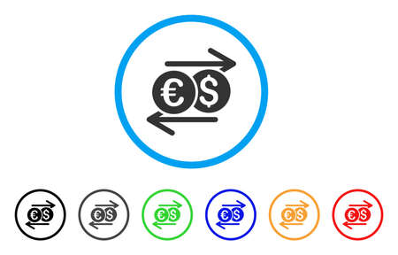 Currency Exchange icon. Vector illustration style is a flat iconic currency exchange gray rounded symbol inside light blue circle with black, gray, green, blue, red, orange color versions. Illustration