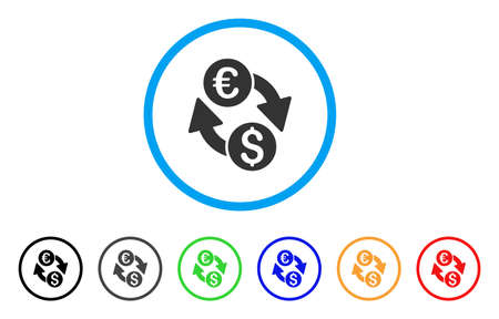 Euro Dollar Change icon. Vector illustration style is a flat iconic euro dollar change gray rounded symbol inside light blue circle with black, gray, green, blue, red, orange color variants.