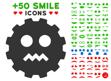 gears: Evil Smiley Gear pictograph with bonus emotion pictures. Vector illustration style is flat iconic elements for web design, app user interfaces.