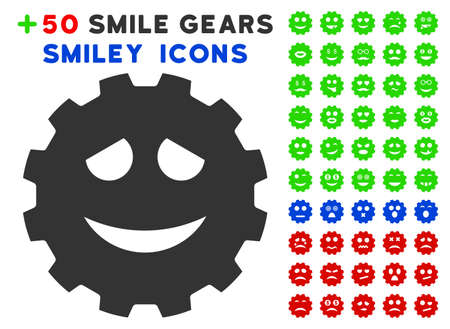 gears: Funny Smiley Gear pictograph with bonus facial symbols. Vector illustration style is flat iconic elements for web design, app user interfaces. Illustration